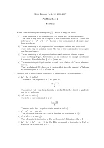 Ring Theory (MA 416) 2006-2007 Problem Sheet 2 Solutions 1