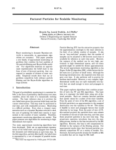 Factored Particles for Scalable Monitoring {bmng,pesha,avi}  eecs