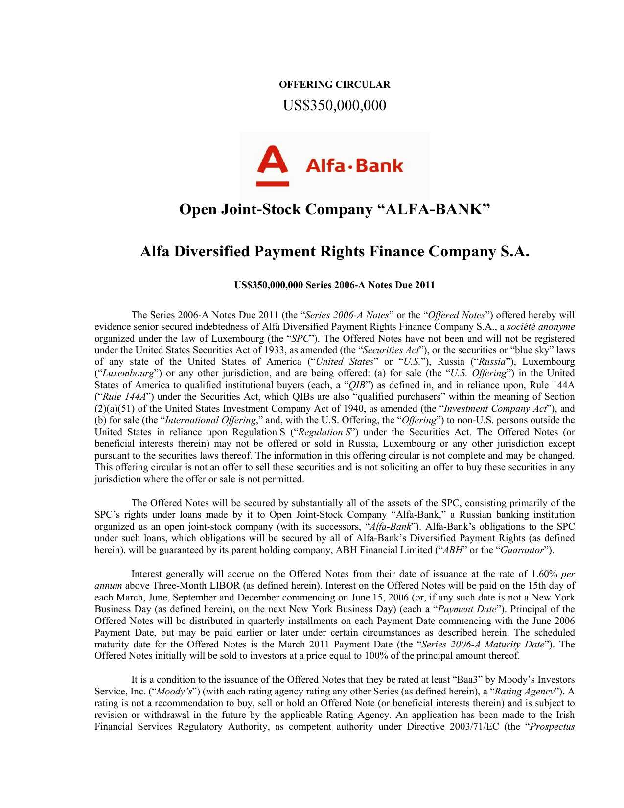 "Open Joint-Stock Company ""ALFA-BANK"" Alfa Diversified Payment"