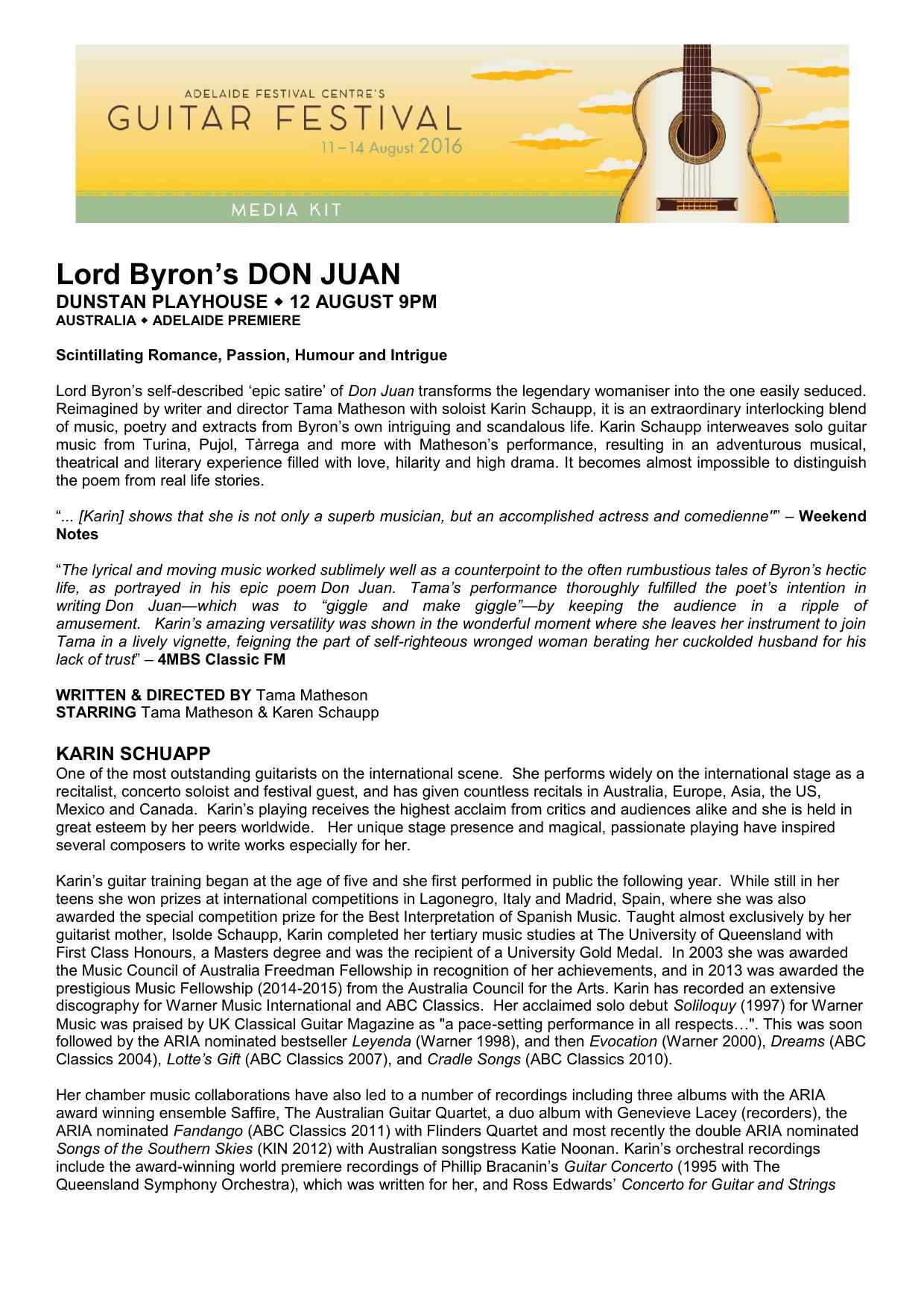 Lord Byron S Don Juan Adelaide Guitar Festival