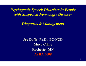 Psychogenic Speech Disorders in People with Suspected