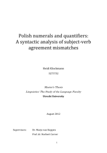 Polish numerals and quantifiers: A syntactic analysis of subject‐verb