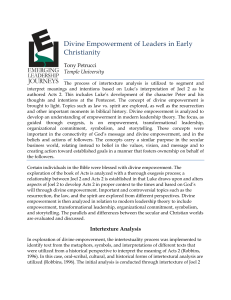 Divine Empowerment of Leaders in Early