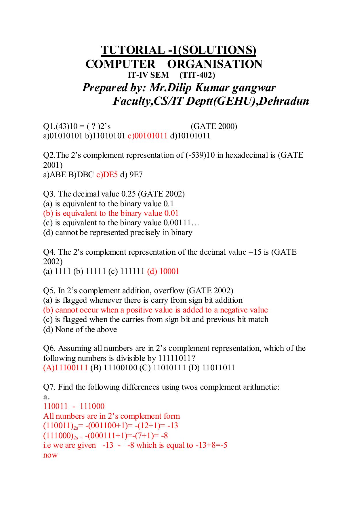 1(SOLUTIONS) - GEHU CS/IT Deptt