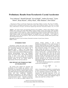 Preliminary Results from Pyroelectric Crystal Accelerator