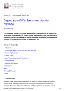 Organization of War Economies (Austria-Hungary) - 1914