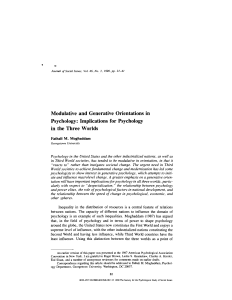 Modulative and Generative Orientations in Psychology: Implications