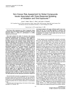 Non-Cancer Risk Assessment for Nickel Compounds: Issues