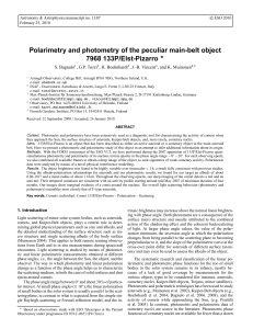 Polarimetry and photometry of the peculiar main