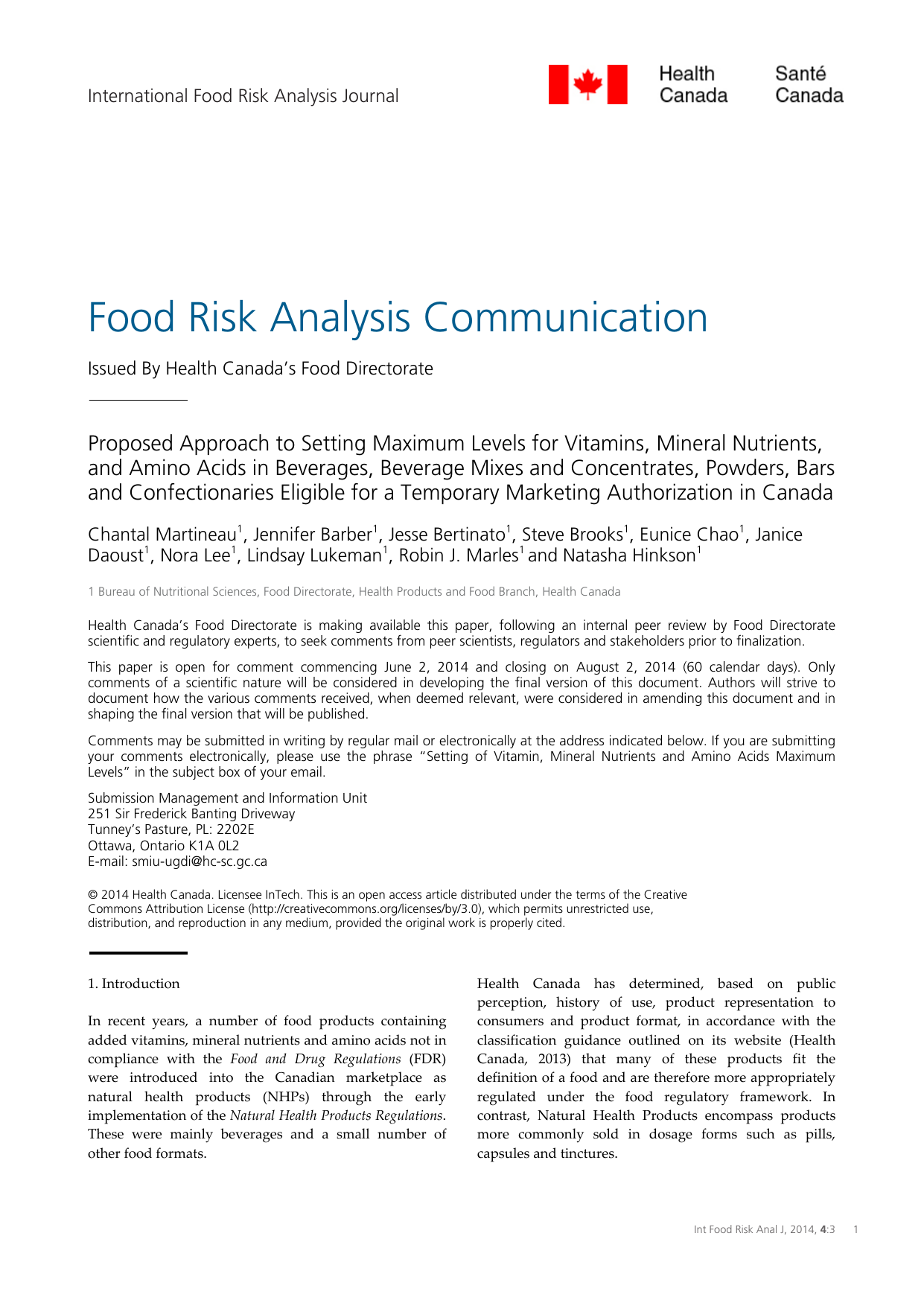 Food Risk Analysis Communication