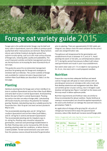 Forage oat variety guide 2015 - Department of Agriculture and