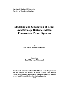 Modeling and Simulation of Lead- Acid Storage Batteries within