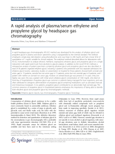 A rapid analysis of plasma/serum ethylene and propylene glycol by