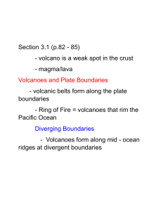 volcano is a weak spot in the crust