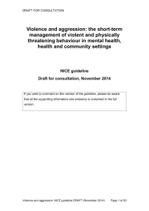 Violence and aggression: NICE guideline DRAFT