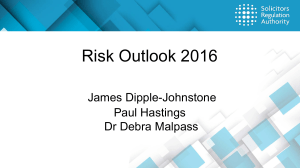 Risk Outlook 2016 - Solicitors Regulation Authority