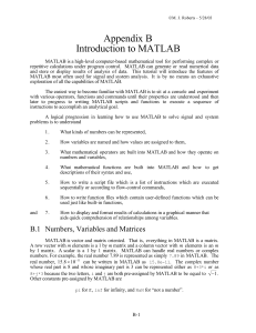 Appendix B Introduction to MATLAB - UTK-EECS