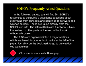 SOHO`s Frequently Asked Questions