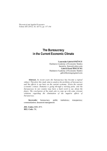 The Bureaucracy in the Current Economic Climate