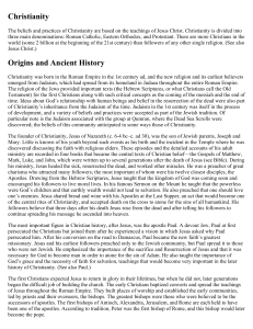 Christianity Origins and Ancient History