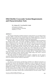 MSL/CheMin Cryocooler System Requirements and