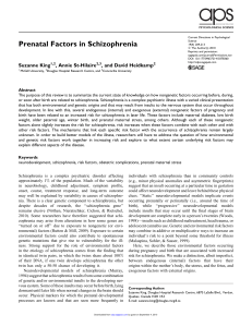 Prenatal Factors in Schizophrenia