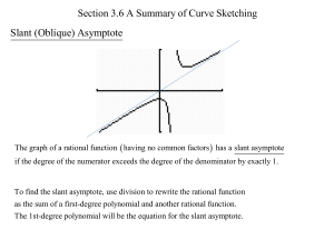 Section 3.6 A Summary of Curve Sketching Slant (Oblique) Asymptote