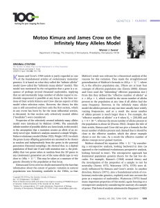 Motoo Kimura and James Crow on the Infinitely Many Alleles Model