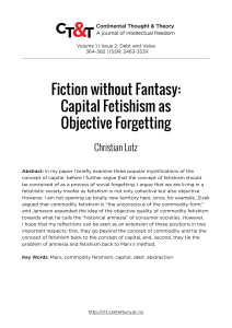 Fiction without Fantasy: Capital Fetishism as Objective Forgetting