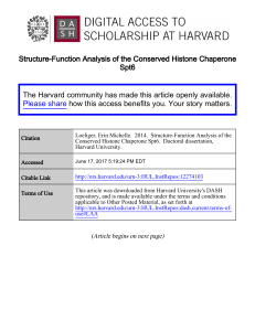 Structure-Function Analysis of the Conserved Histone Chaperone