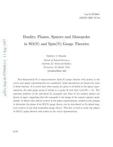 Duality, Phases, Spinors and Monopoles in SO (N) and Spin (N