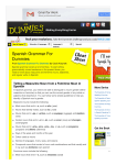 Spanish Grammar For Dummies Cheat Sheet