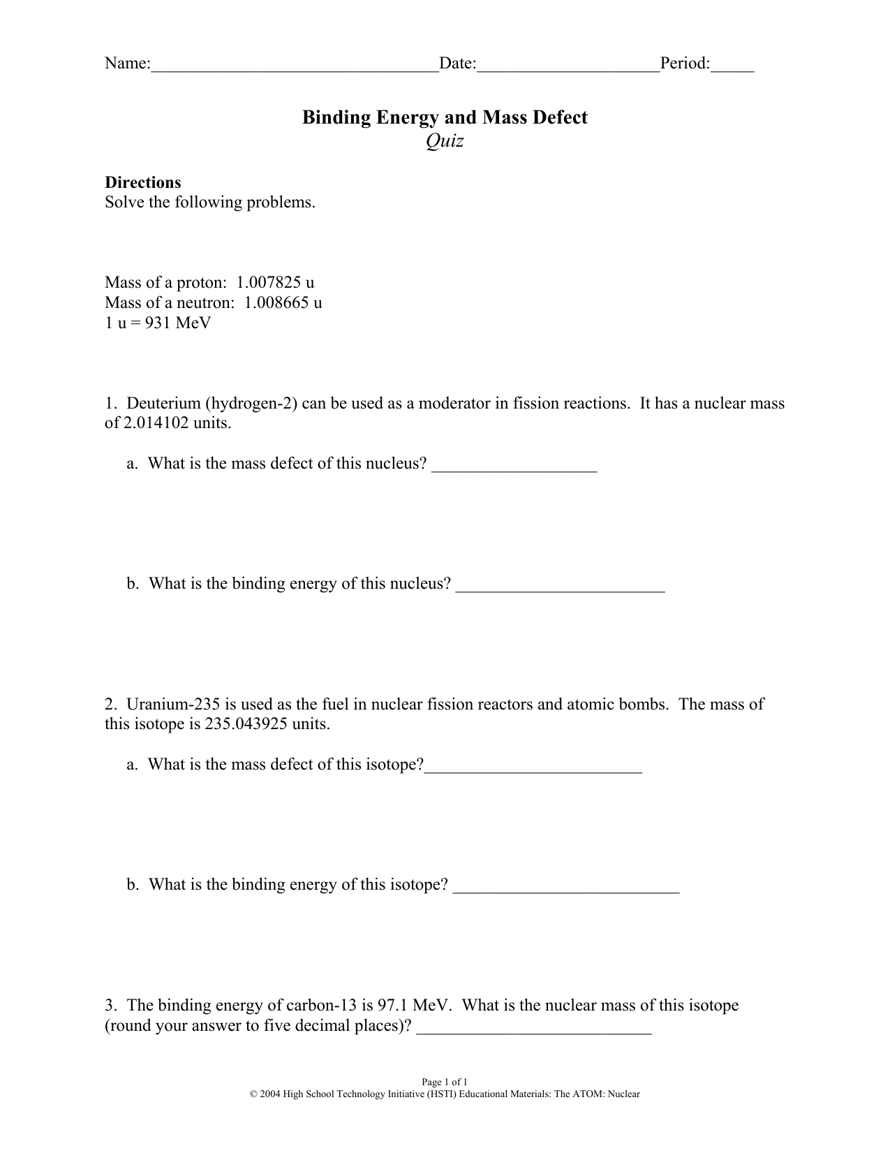 1 Binding Energy and Mass Defect Quiz – Fission Fusion Worksheet