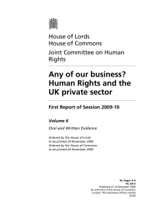 Any of our business? Human Rights and the UK private sector First