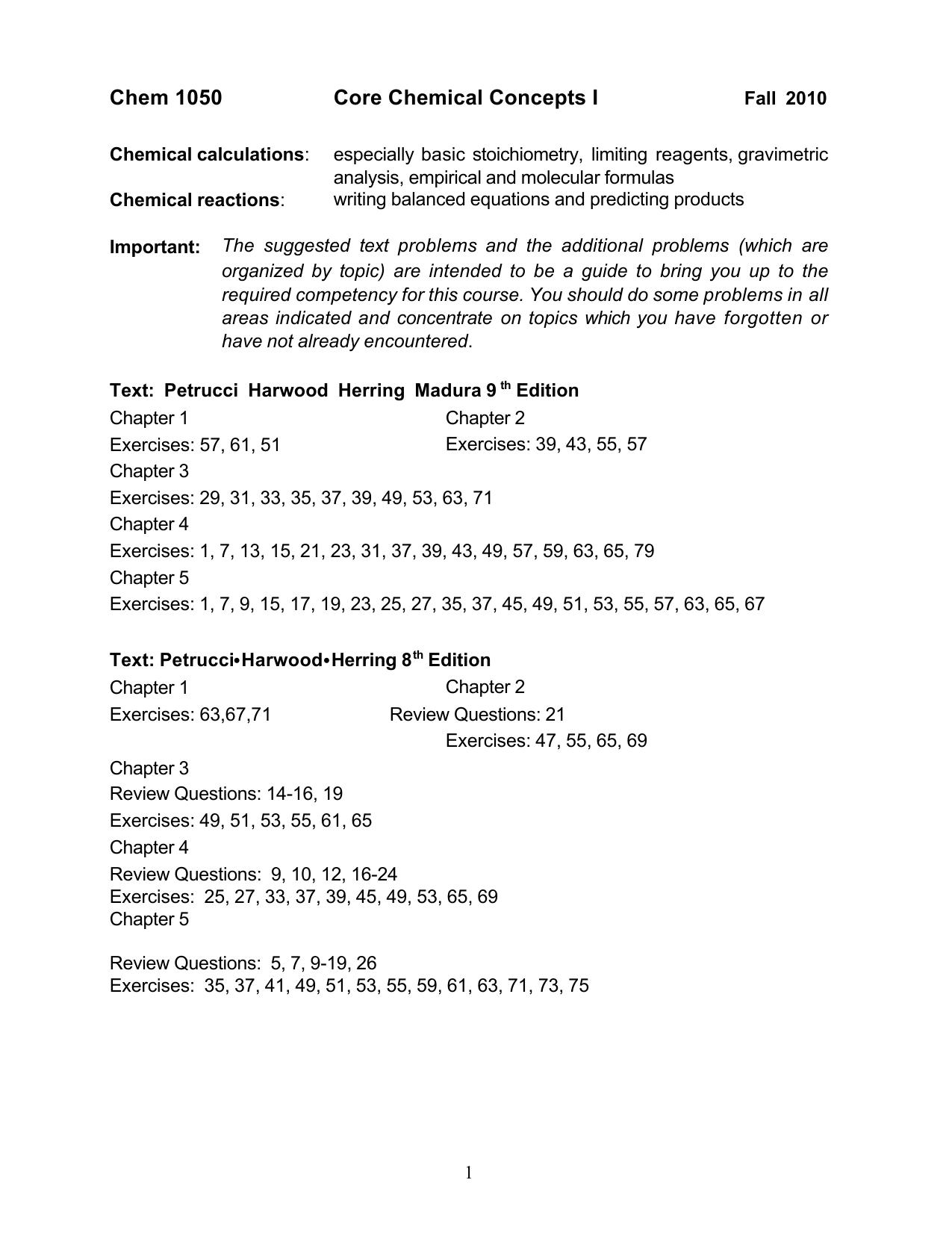 Basic Chemical Concepts I