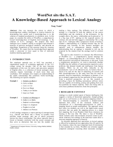 A Knowledge-Based Approach to Lexical Analogy