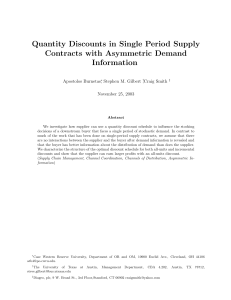 Quantity Discounts in Single Period Supply Contracts