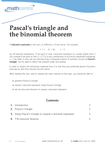 Pascal`s triangle and the binomial theorem