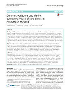 Genomic variations and distinct evolutionary rate of rare alleles in