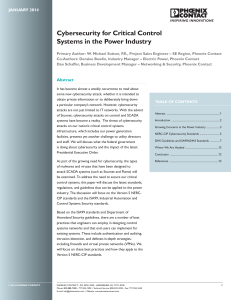 Cybersecurity for Critical Control Systems in the Power Industry