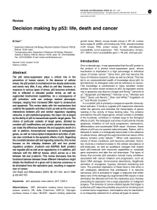 Decision making by p53: life, death and cancer