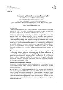 Community ophthalmology: from darkness to light Editorial