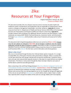 ASPR TRACIE Zika Virus Disease Resources at Your Fingertips