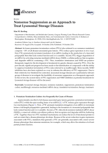 Nonsense Suppression as an Approach to Treat Lysosomal Storage