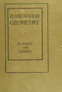 Plane and solid geometry : with problems and applications