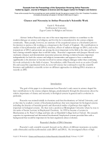 Chance and Necessity in Arthur Peacocke`s Scientific Work
