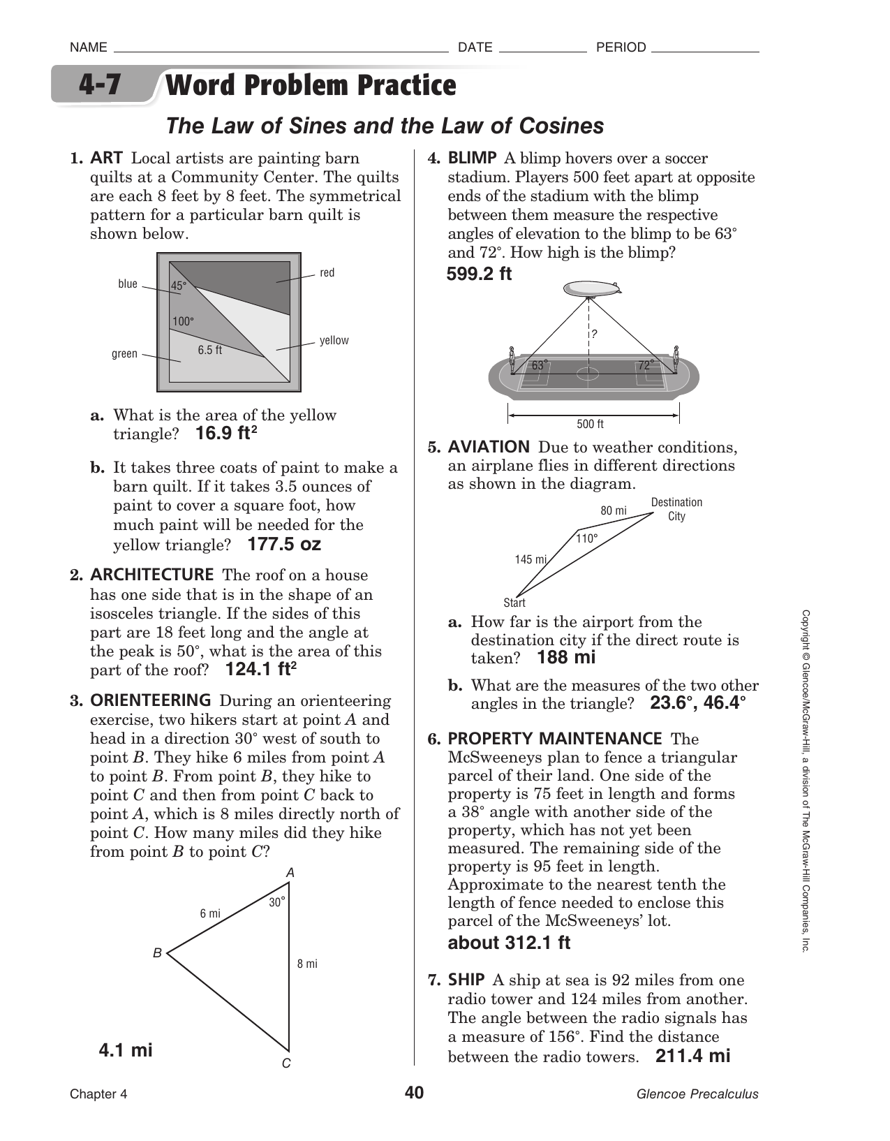 4 7 Word Problem Practice The Law Of Sines And The Law Of Cosines
