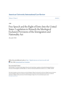 Free Speech and the Right of Entry Into the United States