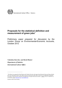 Proposals for the statistical definition and measurement of