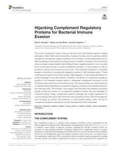 Hijacking Complement Regulatory Proteins for Bacterial Immune